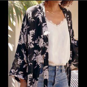 Spiritual Gangster Black Floral Tie Robe Kimono